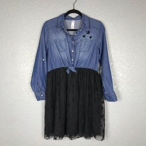 JUSTICE Chambray and Mesh Shirt Dress Black Sequin